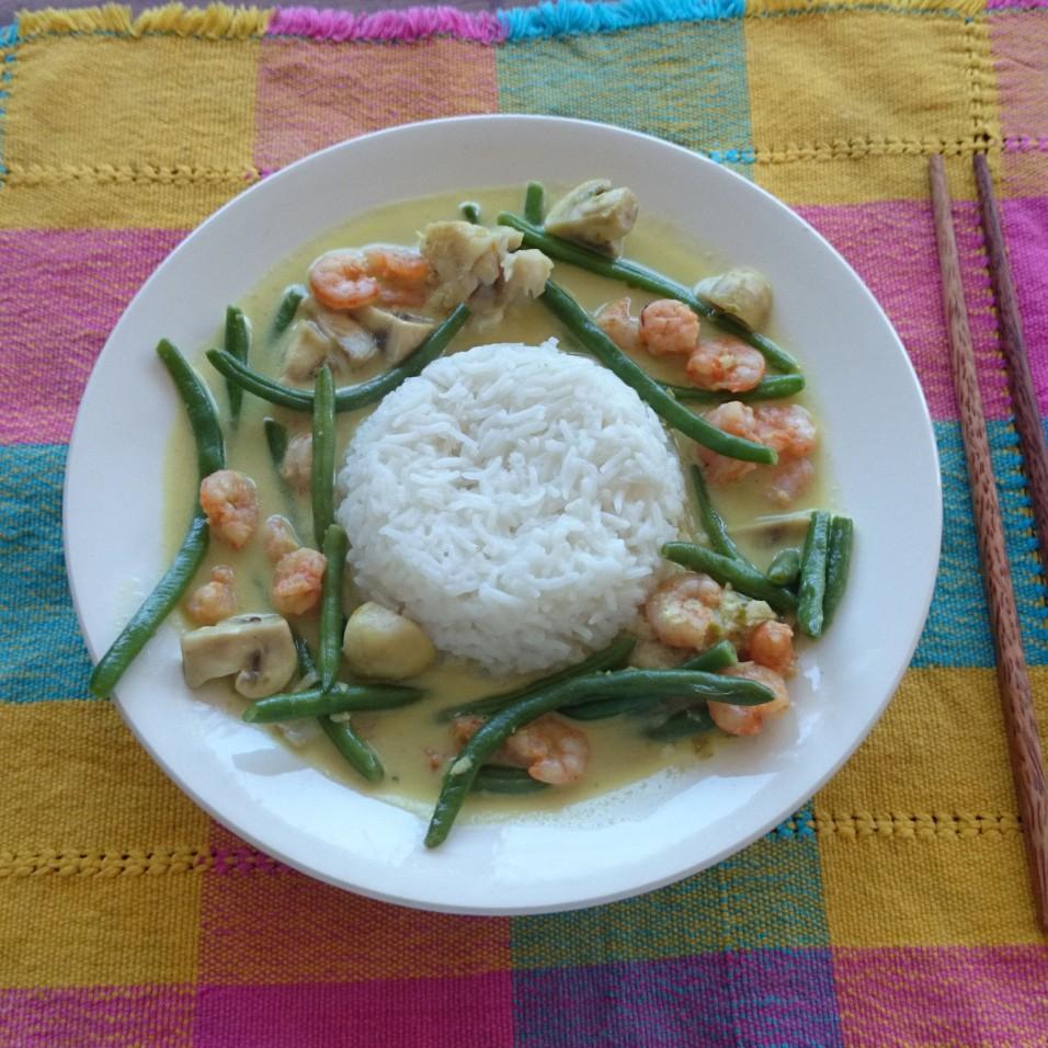 Thaise groene curry met Vis en Garnalen