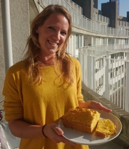 Pompoencake in de zon