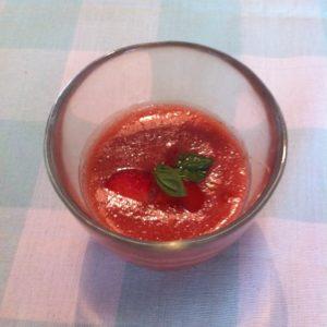 Koude Tomaten-aardbeiensoep