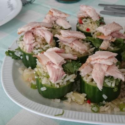 Recept van Willemijn: Komkommer gevuld met Rijst en Forel