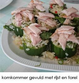 komkommer gevuld met rijst en forel