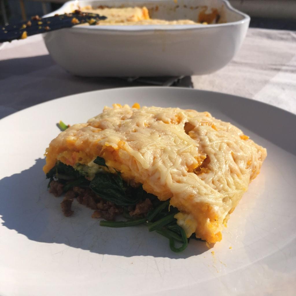 Ovenschotel met Pompoen, Spinazie en (vega)gehakt 2