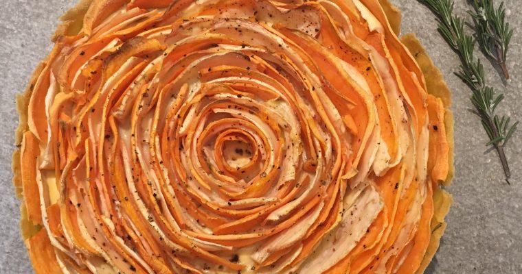 'bloem'taart met  pastinaak en zoete aardappel