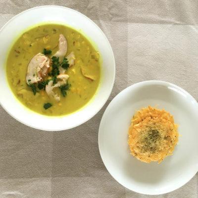 Maissoep met Gerookte Kip en Kokosmelk